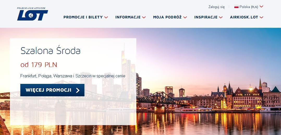LOT Szalona Środa! Szczecin od 179 zł/os, Połąga w wakacje od 319 zł/os, Frankfurt od 349 zł/os