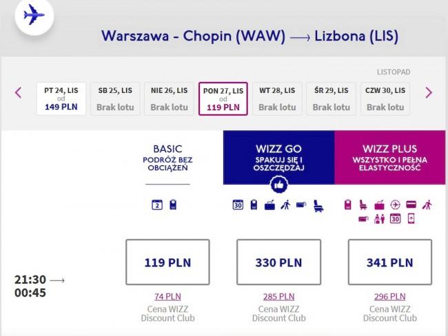 Lot z Warszawy do Lizbony