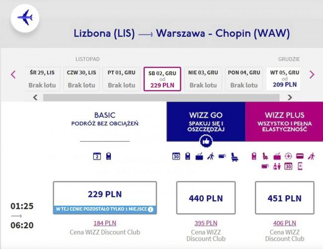 Lot z Lizbony do Warszawy