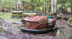 """Prypeć - """"Miasto Widmo"""" ewakuowane po katastrofie w Czarnobylu. Na zdjęciu opustoszałe wesołe miasteczko."""