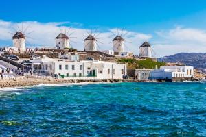 Wiatraki na Mykonos, Grecja