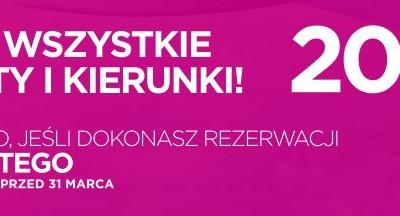 Wizzair 20% zniżki na bilety na wszystkie loty i kierunki!